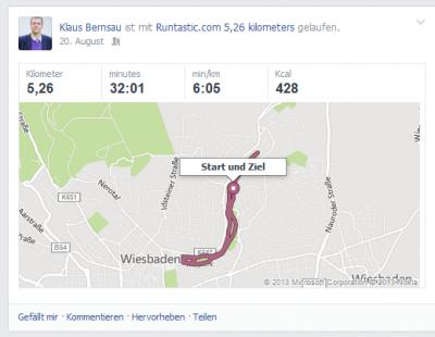 Die Runtastic App postet in Facebook