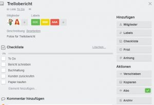Trello Checkliste, Labels