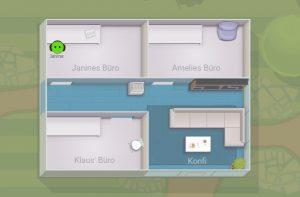 Unser virtuelles Büro bei Sococo - mehr Räume, als das echte Büro!