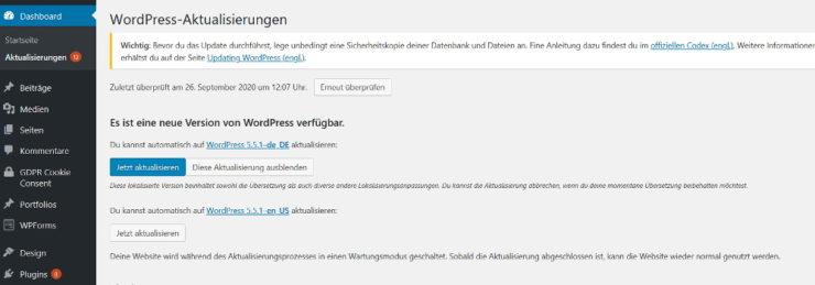 Wordpress ruft nach Updates